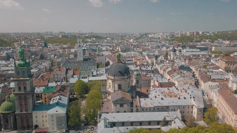 Aerial City Lviv Ukraine European City Popular Areas of the City Dominican 2 Live Action