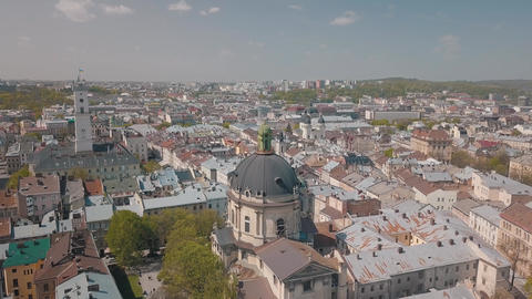 Aerial City Lviv Ukraine European City Popular Areas of the City Dominican 3 Live Action