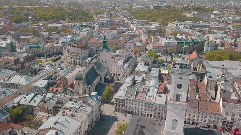 Aerial City Lviv Ukraine European City Popular Areas of the City Town Hall Live Action