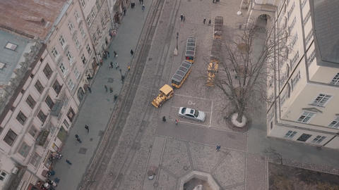 Aerial City Lviv Ukraine European City Tourist Tram Rides Down City Center Live Action