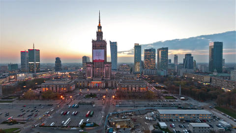 Aerial Wide Time Lapse Shot of the Mix of Old and Modern Marvelous Architecture in the Warsaw Live Action