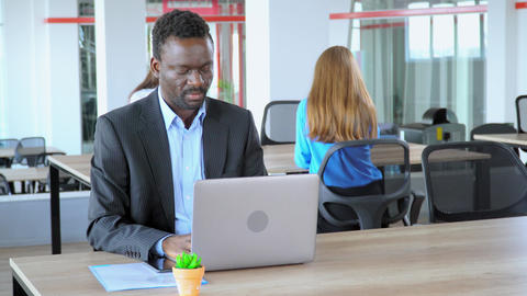adult business worker in open space office Live Action