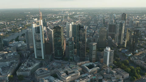AERIAL: Beautiful Frankfurt am Main, Germany Cityscape in Soft Summer Afternoon Live Action