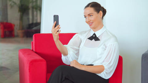 adult businesswoman has video call indoors Live Action