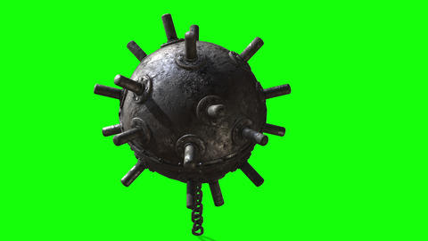 3d rendering on the green screen . Naval underwater mines. Explosive bombs floating Animation