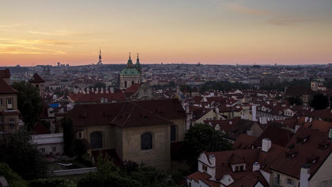 Early Morning View of the Old Town Architecture with Red Roofs in Prague Timelapse Czech Republic Live Action