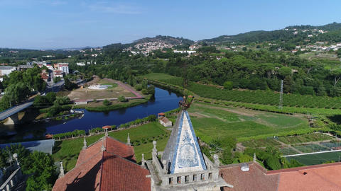 Flight Antique Portugal Monastery Near Beautiful River Live Action