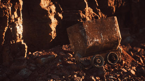 abandoned gold mine trolley used to cart ore during the gold rush Live Action