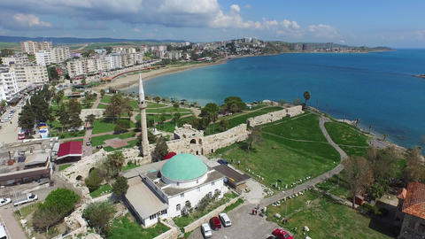 Historical Castle and Muslim Mosque in Small City Near the Sea Live Action