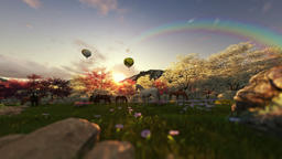 Spring scenery with horses and air balloons at sunrise Animation