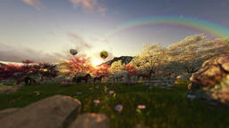 Spring scenery with horses and air balloons at sunset Animation