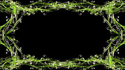Stylish green swirls frame, Alpha Channel Animation