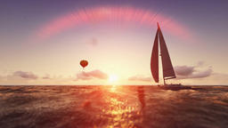 Sunrise summer scene, air balloon and yacht sailing, flight over sea Animation