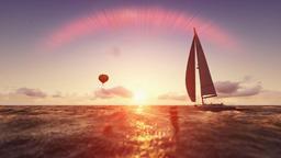 Sunrise summer scene, air balloon and yacht sailing, flight over sea Animation