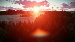 Sunrise over forest hills and sea Animation