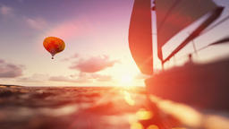 Sunrise summer time, air balloon and yacht sailing Animation