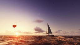 Sunrise summer time, air balloon and yacht sailing, flight over sea Animation