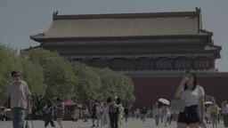 Beijing. China . People in the forbidden City Live Action