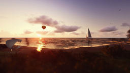 Sunset summer time, people on the beach, air balloon and yacht sailing, camera f Animation