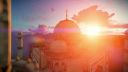 Taj Mahal, beautiful sunrise, right tower viewport, panning Animation