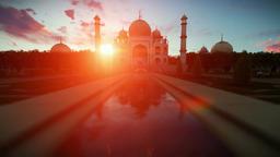 Taj Mahal, people enjoying a beautiful sunset Animation