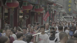 Urban landscapes of Beijing. People crowded the street in Beijing. China. Asia Footage