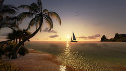 Tropical island and yacht sailing, timelapse sunrise, tilt Animation