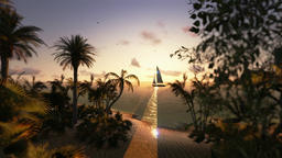 Tropical island and yacht sailing, timelapse sunset, fly over Animation
