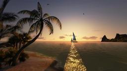 Tropical island and yacht sailing, timelapse sunrise Animation