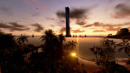 Tropical Island, Hotel on Coastline and yachts at sunset, timelapse Footage