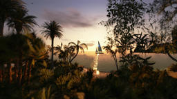 Tropical island and yacht sailing, timelapse sunset Animation