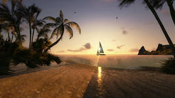 Tropical island and yacht sailing, timelapse sunset, ground level Animation