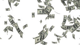 US Dollars Falling, against white Animation