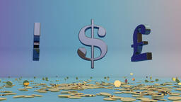 USDollar, EURO and English Pound rotating, falling coins, Alpha Animation