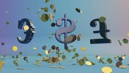 USDollar, EURO and English Pound rotating, falling coins Animation