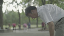 Beijing. China. Male resident of Beijing, is engaged in the workout Footage