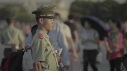 A police officer on Tiananmen square . Beijing. China Footage