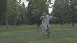 A man goes in for sports with the iron whip in the Park . Beijing. China Footage
