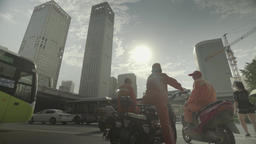 People on the streets of Beijing . Cityscapes of Beijing. China Footage