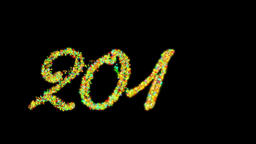 2016 Happy New Year made from colorful particles, against black Animation