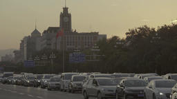 A lot of cars on the road in Beijing. Cityscapes of Beijing Footage