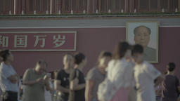 Beijing. The people of China in Tiananmen square. The Portrait Of Mao Zedong Footage