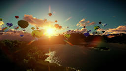 Air balloons flying above lake surrounded by mountains, beautiful sunset, tilt Animation