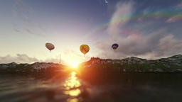 Air balloons at sunrise, beautiful lake reflection Animation