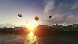 Air balloons at sunset, beautiful lake reflection Animation