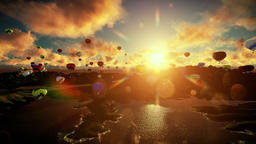 Air balloons flying under beautiful sunset, travelling shot Animation