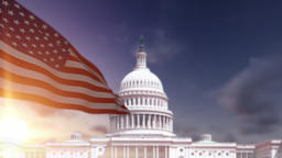 American Flag with US Capitol Building Animation