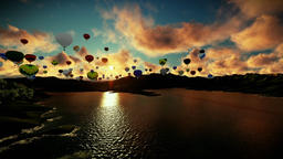 Air balloons flying above lake surrounded by mountains, beautiful sunset, camera Animation