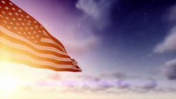American Flag against Time Lapse Clouds, Luma Matte included Animation
