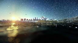 Beautiful sunrise over Sydney Opera House, snowing Animation